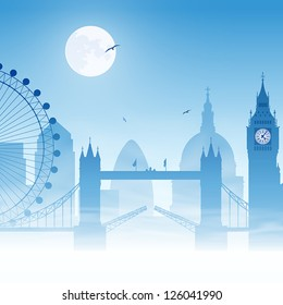 A Misty London Cityscape with Moon