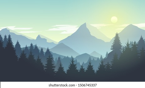 Misty Mountain Cliff Pine Tree Forest Nature Landscape at Morning, Noon, Daylight