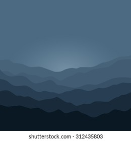 Misty Mountain Landscape , Silhouette of the Mountains  Before  Sunrise or in the Morning , Waves in Shades of Dark Gray,  Vector Illustration