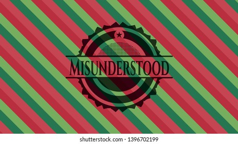 Misunderstood christmas colors style badge. Vector Illustration. Detailed.