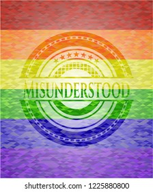 Misunderstood emblem on mosaic background with the colors of the LGBT flag