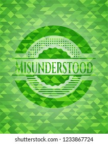 Misunderstood green emblem. Mosaic background