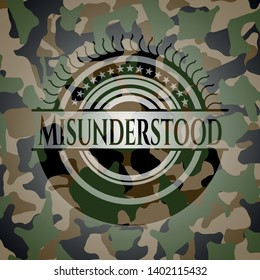 Misunderstood on camo pattern. Vector Illustration. Detailed.