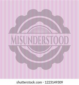 Misunderstood pink emblem. Vintage.