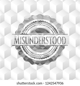 Misunderstood realistic grey emblem with cube white background