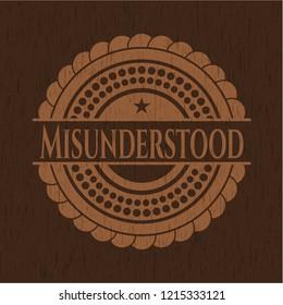 Misunderstood retro style wooden emblem