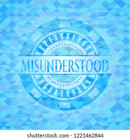 Misunderstood sky blue emblem with triangle mosaic background