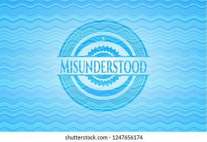 Misunderstood sky blue water wave badge background.
