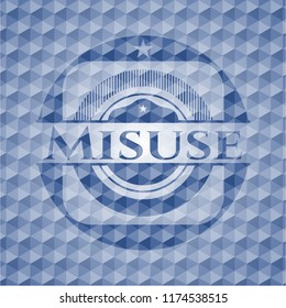 Misuse blue hexagon badge.