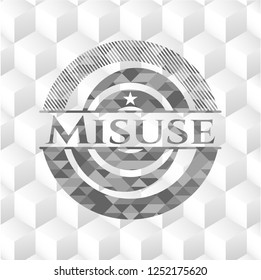 Misuse grey badge with geometric cube white background