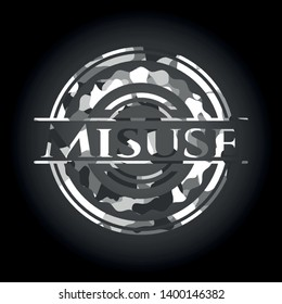 Misuse grey camouflage emblem. Vector Illustration.