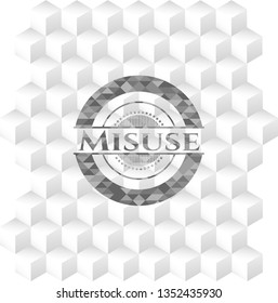 Misuse grey emblem. Retro with geometric cube white background