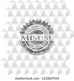 Misuse grey emblem. Vintage with geometric cube white background