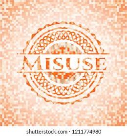 Misuse orange tile background illustration. Square geometric mosaic seamless pattern with emblem inside.