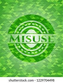 Misuse realistic green mosaic emblem