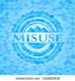 Misuse realistic sky blue mosaic emblem