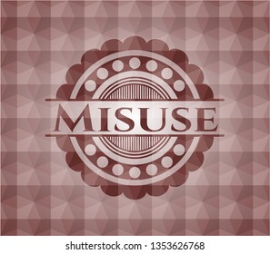 Misuse red seamless geometric pattern emblem. Seamless.