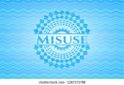 Misuse sky blue water wave badge background.