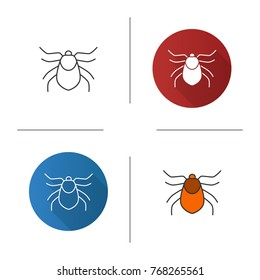 Mite icon. Flat design, linear and color styles. Acari. Isolated vector illustrations