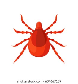 Mite insect vector illustration on a white background. Wild or domestic tick, skin parasites. House dust mite allergy.