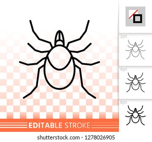 Mite thin line icon. Outline web sign of tick. Insect linear pictogram with different stroke width. Acarus simple vector symbol, transparent background. Acari editable stroke icon without fill