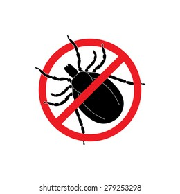 Mite warning sign. Stop parasite icon, vector illustration, silhouette, black and red, tick in a red circle