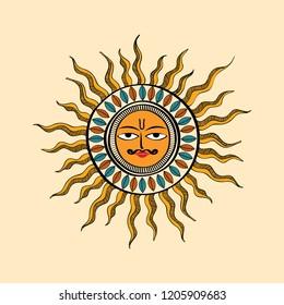 Mithila art famous in Bihar, India. Sun Symbol uses in Chhath Puja, Bihar
