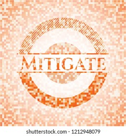 Mitigate abstract orange mosaic emblem with background