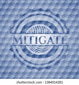 Mitigate blue emblem with geometric pattern. Vector Illustration. Detailed.