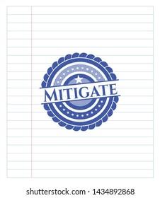 Mitigate draw (pen strokes). Blue ink. Vector Illustration. Detailed.