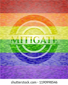 Mitigate emblem on mosaic background with the colors of the LGBT flag