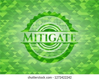 Mitigate green emblem with mosaic background