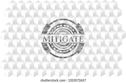Mitigate grey emblem with geometric cube white background