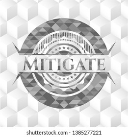 Mitigate grey emblem. Vintage with geometric cube white background
