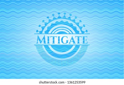 Mitigate light blue water wave style badge.