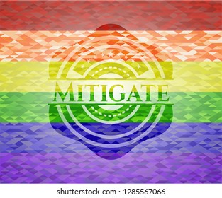 Mitigate on mosaic background with the colors of the LGBT flag