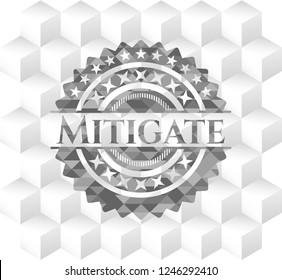Mitigate realistic grey emblem with geometric cube white background