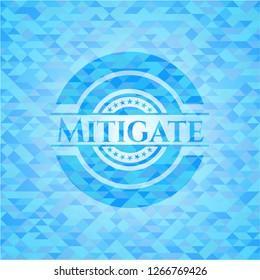 Mitigate realistic sky blue mosaic emblem
