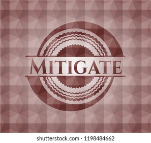Mitigate red badge with geometric background. Seamless.