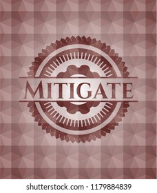 Mitigate red badge with geometric pattern background. Seamless.