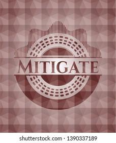 Mitigate red seamless geometric pattern emblem. Seamless.