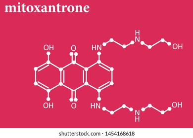 MITOXANTRONE molecule line formula on red background