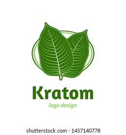 Mitragyna speciosa, kratom leaf logo template. Vector flat illustration icon design. Isolated on white background. Kratom plant, drug leaf logo concept