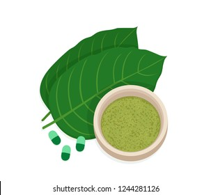 Mitragyna speciosa, kratom leaf with powder product. Vector flat illustration icon design. Isolated on white background. Kratom plant drug concept.Supplement organic green capsules.