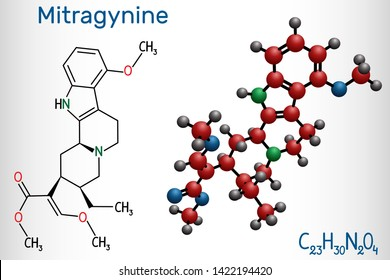Mitragynine molecule. It is the herbal alkaloid with opiate-like properties produced by plant Mitragyna speciosa Korth, kratom. Structural chemical formula and molecule model. Vector illustration