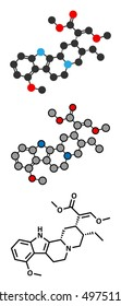 Mitragynine molecule. Stylized 2D renderings and conventional skeletal formula. Herbal alkaloid present in kratom (ketum, Mitragyna speciosa).