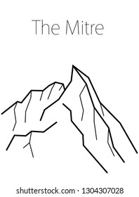 The Mitre, Pakistan. Vector black and white illustration of Karakoram mountains. Nature print design. Adventure, travel, tourism. Climbing. Isolated rocks on white background