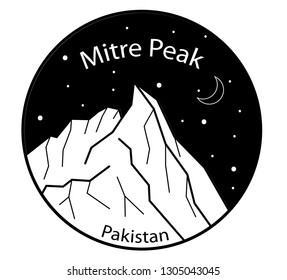 Mitre Peak in Pakistan, Asia. Travel and tourism. Nature, national park, outdoor. Climbing, hiking, adventure time. Black and white vector illustration