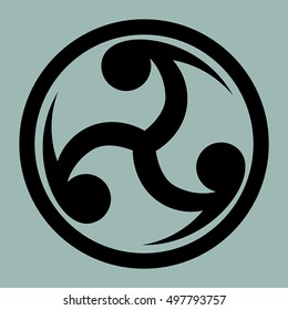 Mitsu Tomoe - Japanese symbol as a visual representation of the cycle of life. Creative symbol for logo, tattoo template.
