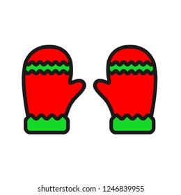 Mitten icon. Christmas glove icon. Santa glove vector sign. Mitten colored flat symbol. Linear icon
